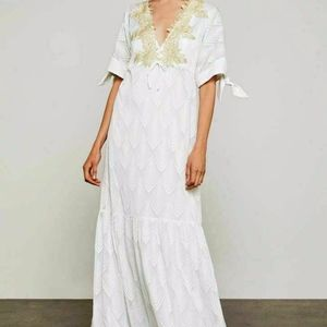 ALYSA EMBROIDERED COLD SHOULDER MAXI DRESS SZ XS